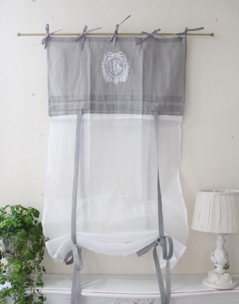 フランスから届くフレンチリネン(ウィンドウカーテン60×160・ホワイト×グレーリボン刺繍) 【Blanc de Paris】 リボン調