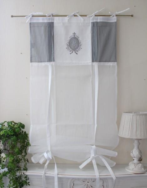 フランスから届くフレンチリネン(ウィンドウカーテン60×160・ホワイト×グレー刺繍) 【Blanc de Paris】 リボン調整 カ