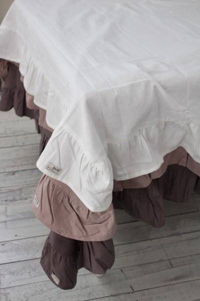 フリルのテーブルクロス(ローズ・グレー・ホワイト)長方形 150×220 イタリア直輸入 トップクロス シャビーシック アンティー