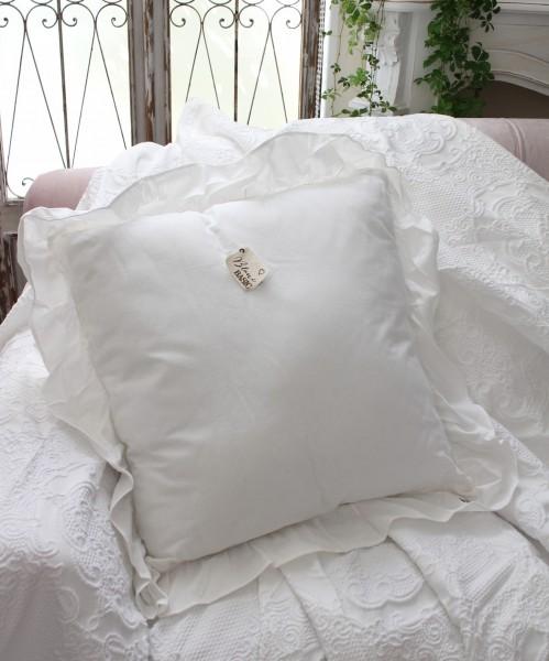 フリルのクッション(ホワイト)60cm角 中綿付き イタリア直輸入 トップクロス シャビーシック アンティーク風 アンティーク
