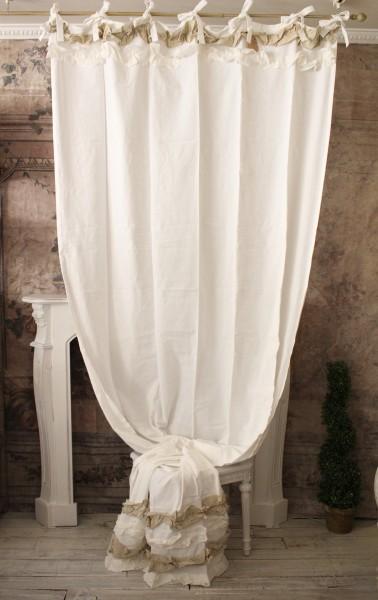 フリルカーテンA(FRUFRU・ホワイト×ベージュ) 【Blanc Mariclo ブランマリクロ】イタリア直輸入 カーテン 間仕切り 紐タイプ