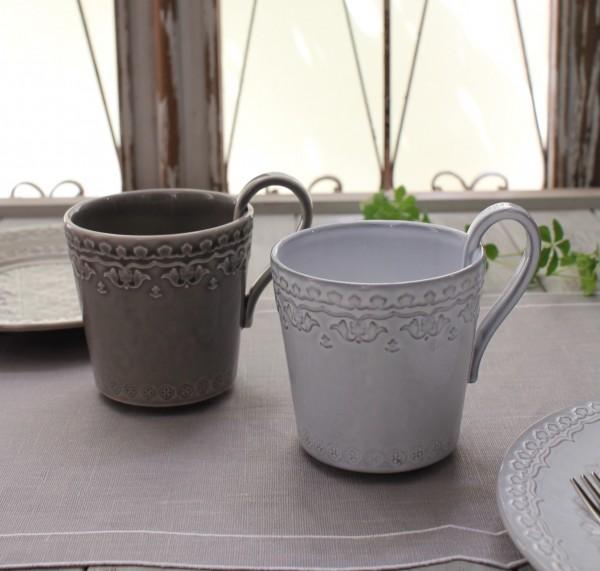 アンティークな輸入食器 マグカップ マグ(RUA NOVA/GY/WH) ボルダロ・ピニェイロ ポルトガル製 おしゃれ シャビーシック アン