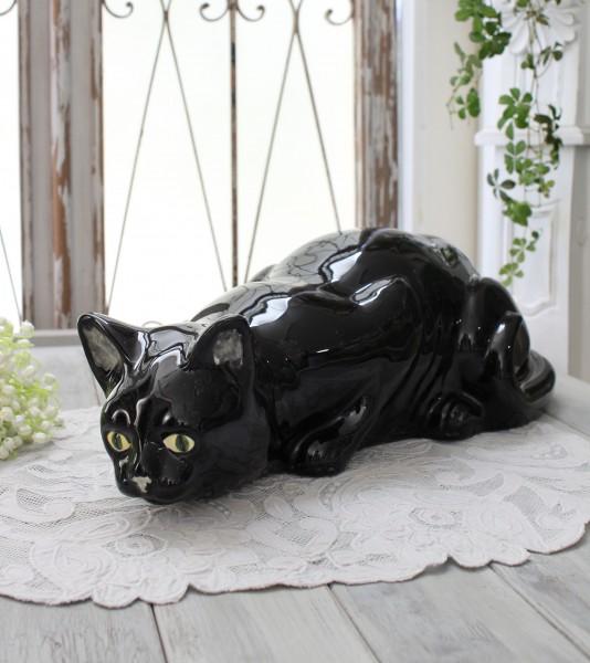 アンティークな黒猫の置物 陶器製 キャット オブジェ ボルダロ・ピニェイロ ポルトガル製 おしゃれ シャビーシック アンティーク