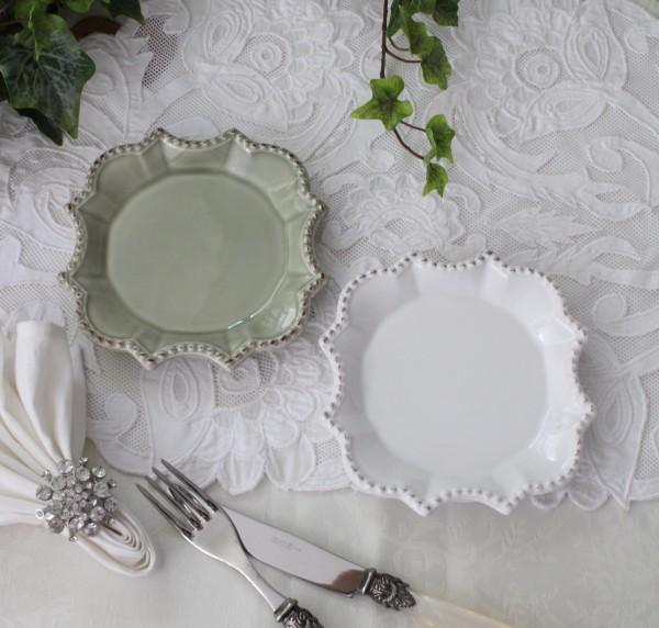 アンティークな輸入食器 プレートS 小皿 スウィーツプレート(バーレスク/ホワイト/グリーン) ボルダロ・ピニェイロ ポルトガ