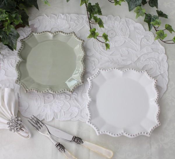 アンティークな輸入食器 プレートM ケーキ皿 ケーキプレート (バーレスク/ホワイト/グリーン) ボルダロ・ピニェイロ ポルトガ