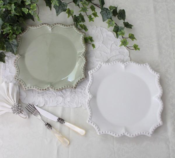 アンティークな輸入食器 プレートL ディナー皿 ディナープレート (バーレスク/ホワイト/グリーン) ボルダロ・ピニェイロ ポル