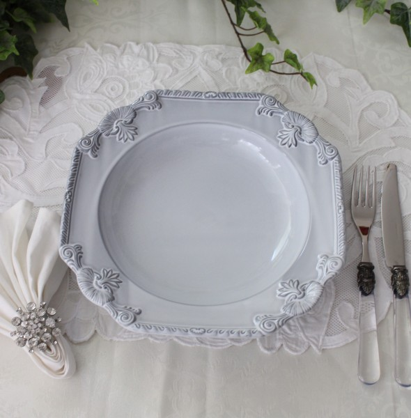 アンティークな輸入食器 パスタ皿 パスタプレート カレー皿 (ルネッサンス/グレー) ボルダロ・ピニェイロ ポルトガル製 おしゃ