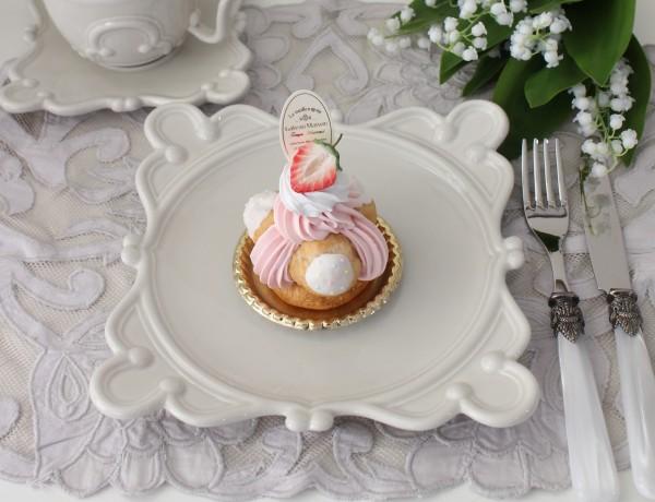 アンティークな輸入食器 ケーキプレート ケーキ皿(ヴィエナ/クリーム) ボルダロ・ピニェイロ ポルトガル製 おしゃれ シャビー