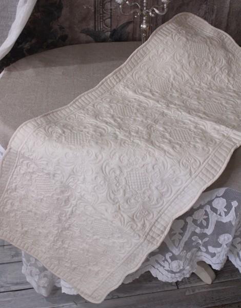 ペールベージュキルト マット(50×120cm)キッチンマット  キルティング 布製 アンティーク風 フレンチカントリー シャビーシ