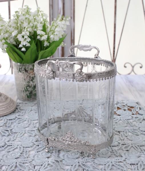 シルバー&ガラス プランター(hb-10157)おしゃれ 小物入れ ディスプレイトレー シャビーシック フレンチカントリー アンティー