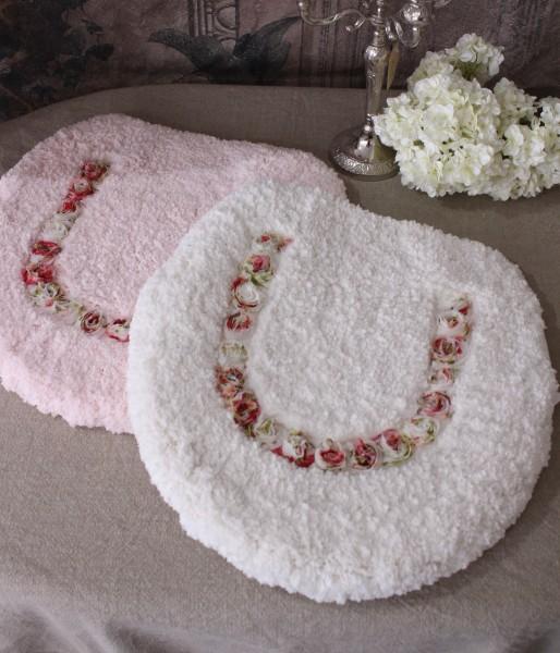 (SALE30)可愛いトイレフタカバー(ホワイト・ピンク)温水洗浄便座型 薔薇 ローズ トイレ蓋 カバー
