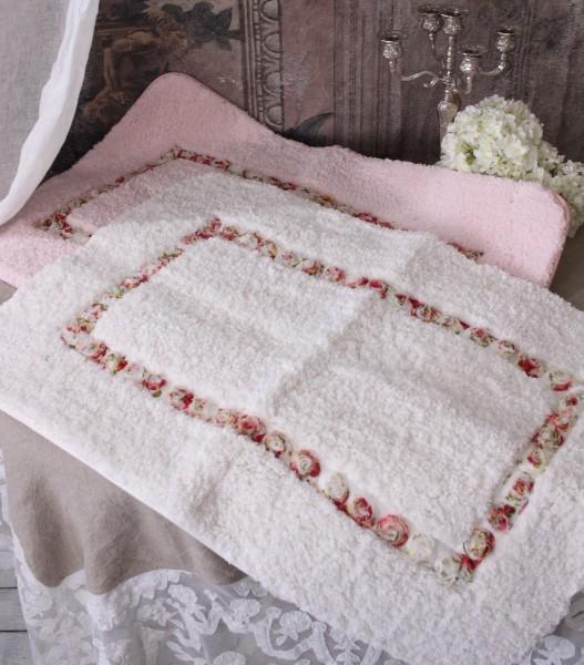 (SALE30)可愛いフロアマット(ホワイト・ピンク)薔薇 ローズ フロアマット 長方形 お洒落 マイクロファー
