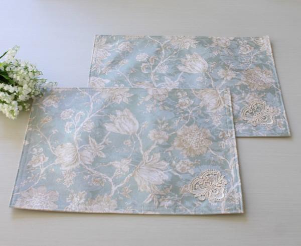 撥水 ランチョンマット ブルーフラワー 32×45cm はっ水 ジャガード織 布製 プレースマット フラワー 花柄 テーブルクロス フリ