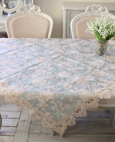 撥水 トップクロス ブルーフラワー 110×110cm はっ水 ジャガード織 布製 レース テーブルクロス 正方形 フラワー 花柄 フリー