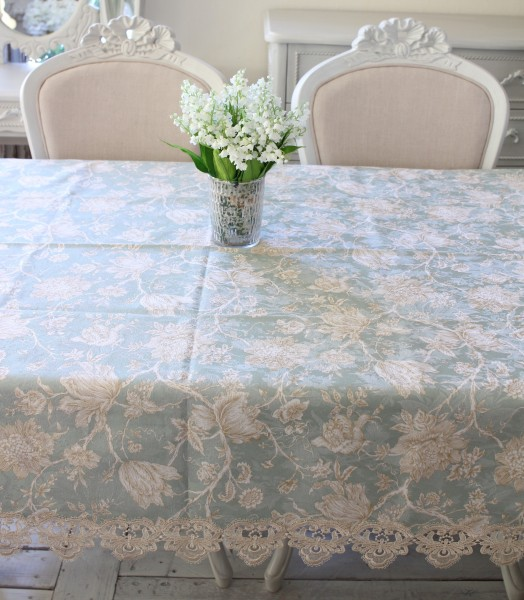 撥水 テーブルクロス ブルーフラワー 130×170cm はっ水 ジャガード織 布製 レース トップクロス 長方形 フラワー 花柄 フリー
