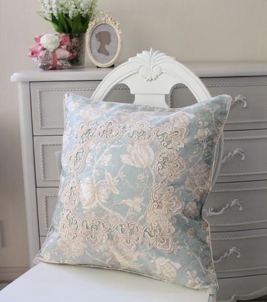 撥水 クッションカバー ブルーフラワー 45×45cm はっ水 ジャガード織 布製 レース 正方形 フラワー 花柄 クッション ネコポス