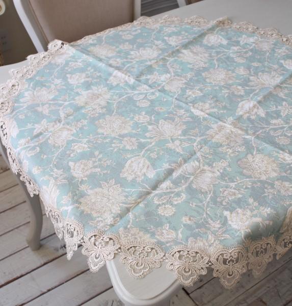 撥水 ラウンド トップクロス ブルーフラワー 円形150cm はっ水 ジャガード織 布製 レース テーブルクロス 正方形 フラワー 花