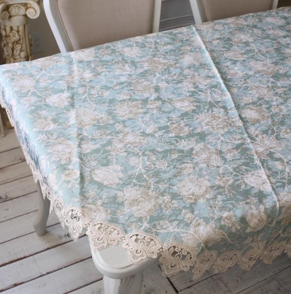 撥水 ラウンド トップクロス ブルーフラワー 円形180cm はっ水 ジャガード織 布製 レース テーブルクロス 正方形 フラワー 花