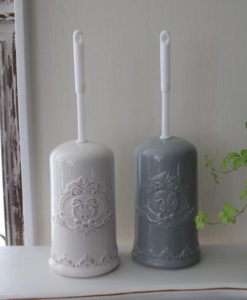 フレンチテイストなトイレブラシ♪ トイレブラシセット ホワイト グレイ 陶器製 ブラシ付き サニタリー フレンチカントリー
