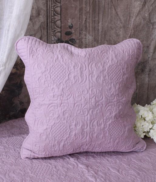 ライラックキルト クッションカバー 45cm角  キルティング 布製 アンティーク風 フレンチカントリー シャビーシック 綿100%
