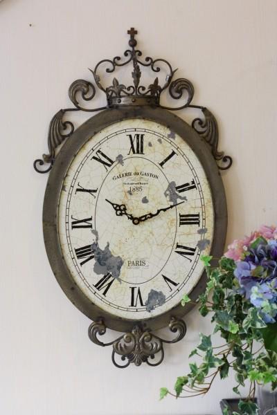 アンティーク調 掛け時計♪ クラウン・オーバルクロック アイアンクロック 掛時計 フレンチカントリー シャビーシック 姫系