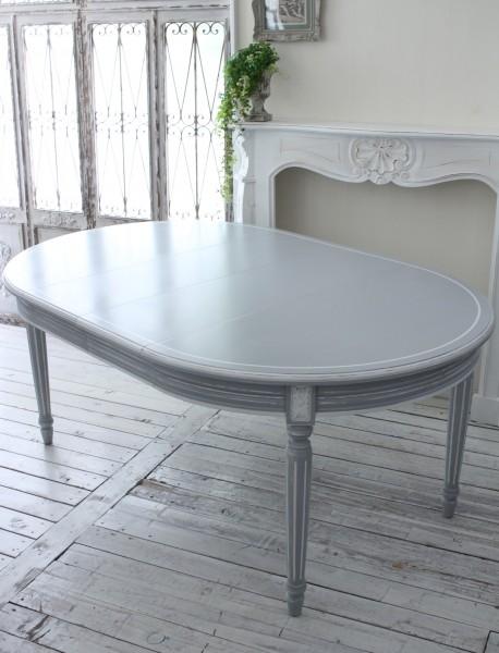 ダイニングテーブル グレー アンティーク 家具 アンティーク調 オーバル伸長式 カントリーコーナー フレンチカントリー シャビー