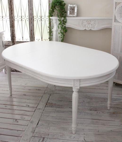 ダイニングテーブル 白 アンティークな木製ダイニングテーブル アンティークホワイト アンティーク調 オーバル伸長式 カントリー