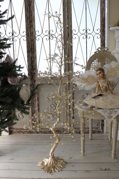 ★SALE・30★ クリスマスオーナメント♪ (プラチナムパールツリー) シャビーシック フレンチ ロマンティック 可愛い