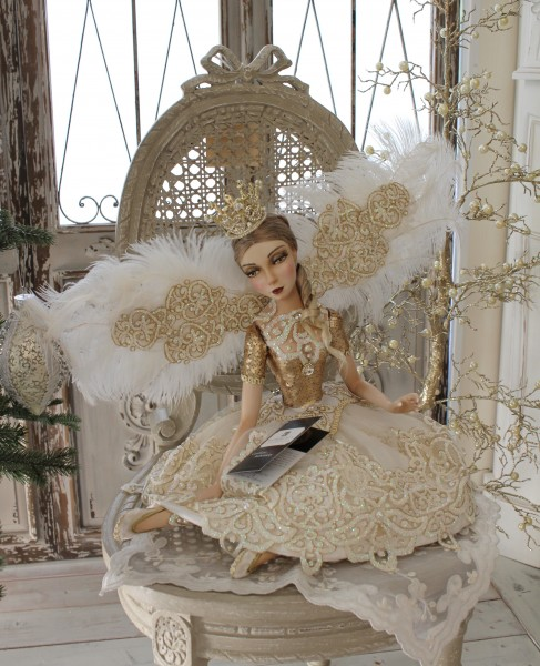 ★SALE・30★ クリスマスオーナメント♪ (クラウンフェアリー・座り) 妖精 ドール 人形 置物 シャビーシック フレン