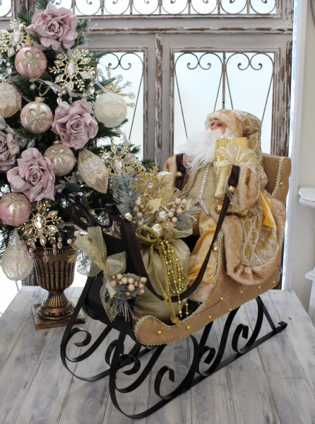 【SALE】サンタの置物 クリスマス サンタクロース&ソリ オブジェ アンティーク シャビーシック 北欧 フレンチ ロマンテ