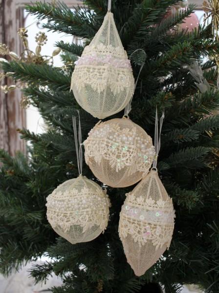 クリスマスオーナメント (レースオーナメント4種セット)アンティーク風 シャビーシック 北欧 フレンチ ロマンティック