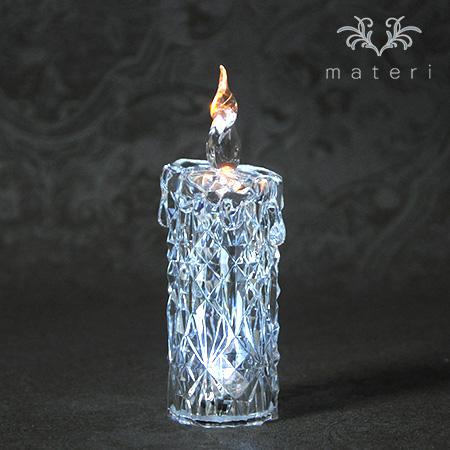 クリスマス置物 (アクリルダイヤモンドキャンドルS LED6740)アンティーク風 シャビーシック 北欧 フレンチ ロマンティ