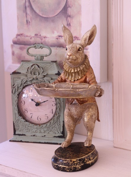 バロックトレイ・ラビット ウサギの置物 シャビー 北欧 フレンチ ロマンティック 可愛い ロココ調 輸入雑貨