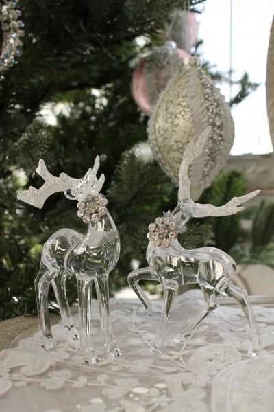クリスマスオーナメント♪ (アクリルディアーデコ2個セット・トナカイの置物) 鹿 オブジェ クリスマスツリー シャビーシ