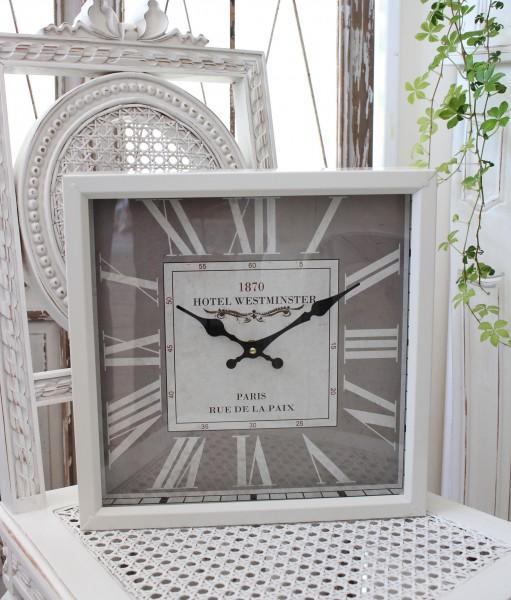 グレー×ホワイトスチール・ウォールクロック 掛時計 クォーツ時計 白色 シャビーシック フレンチカントリー アンティーク 雑貨