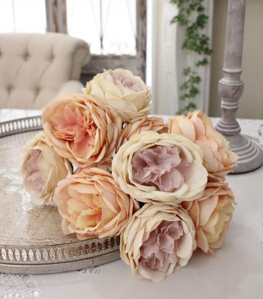 オールドローズのアンティークピンクブーケ 造花 アーティフィシャルフラワー シルクフラワー 花束 薔薇 【輸入雑貨、シャ