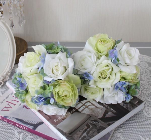 可愛い造花 クリームローズ&ハイドブーケ【シルクフラワー・アーティフィシャルフラワー】 薔薇 花束 造花 ナチュラル