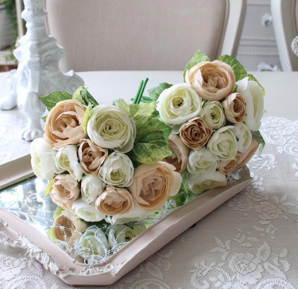 オールドローズブーケ (ベージュ&クリーム) バラ 薔薇 造花 シルクフラワー アーティフィシャルフラワー インテリアフラワー