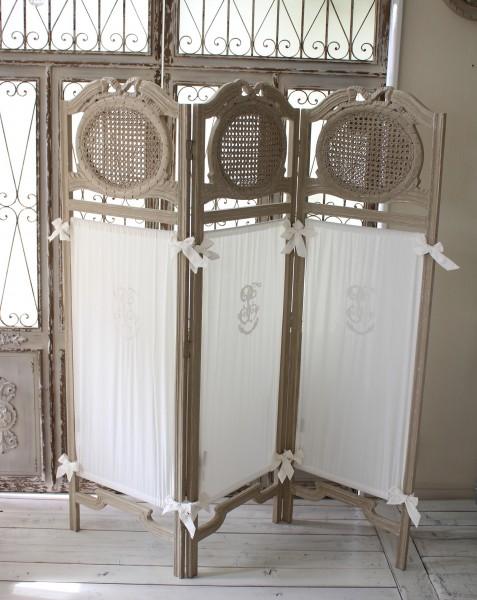 アンティーク 家具 パーテーション コクシグル フランス 3面スクリーン 布付き パネル・パーテーション PABA Gris グレージュ シ