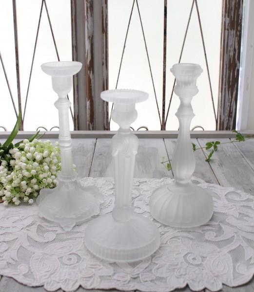 アンティーク風なガラス製 キャンドルホルダー(フロスト) キャンドルスタンド ポルトガル製 おしゃれ シャビーシック 燭台