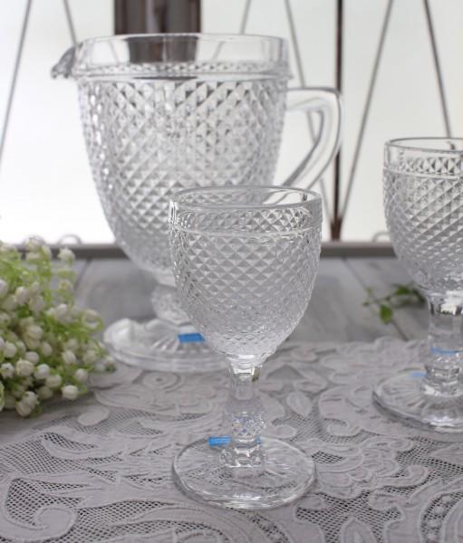 アンティーク風なガラス食器 ワイングラスS(ダイヤ柄・クリア) ガラス グラス コップ ポルトガル製 おしゃれ シャビーシック
