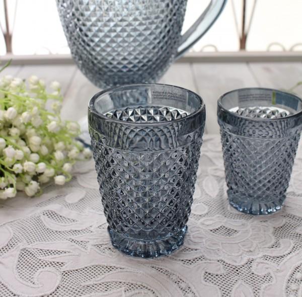 アンティーク風なガラス食器 タンブラーM(ダイヤ柄・ブルーグレー) ガラス グラス コップ ポルトガル製 おしゃれ シャビーシ