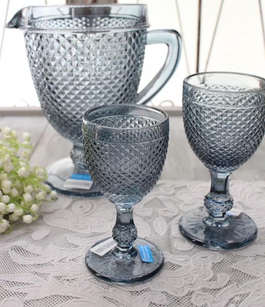 アンティーク風なガラス食器 ワイングラスS(ダイヤ柄・ブルーグレー) ガラス グラス コップ ポルトガル製 おしゃれ シャビー