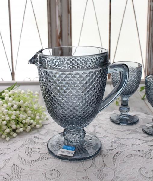 アンティーク風なガラス食器 ピッチャー(ダイヤ柄・ブルーグレー) ガラス 水差し ジャグ ポルトガル製 おしゃれ シャビーシッ