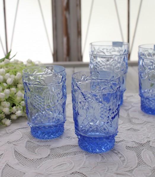 アンティーク風なガラス食器 タンブラーS(フルーツ柄・ブルー) ガラス グラス コップ ポルトガル製 おしゃれ シャビーシック