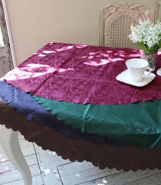 テーブルクロス ラウンド 丸形 ダマスクローズ(スカラップ) 撥水 はっ水 薔薇 ジャガード 150cm ネコポス便OK