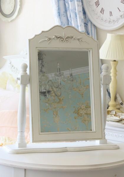 卓上 スタンドミラー 鏡 890001 シャビーシック 送料無料 ホワイト ドレッサー かわいい アンティーク風 アンティーク antique