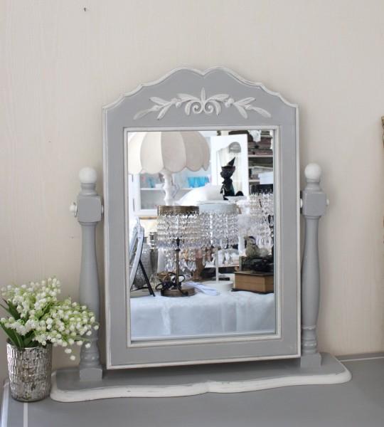 卓上スタンドミラー(グレー) 鏡 シャビーシック 送料無料 ドレッサー ホワイト アンティーク風 アンティーク antique カントリ
