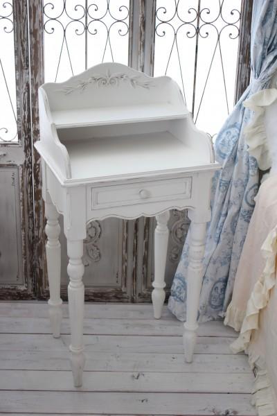 カントリーコーナー ロマンス・コレクション ナイトテーブル ベッドサイドテーブル 飾り棚付き 白家具 白 アンティーク調 チェス