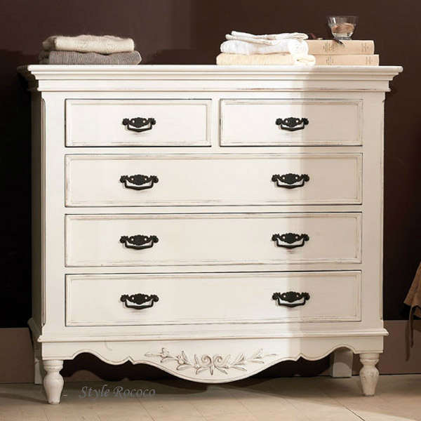 ホワイト チェスト 121065 5引き出し 木製 お洒落 カントリーコーナー ロマンスコレクション アンティーク家具 チェスト 白家具